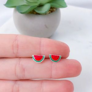 Watermelon stud earrings 925 Sterling Silver